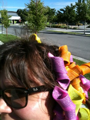 Curlers in my hair at Soda Row
