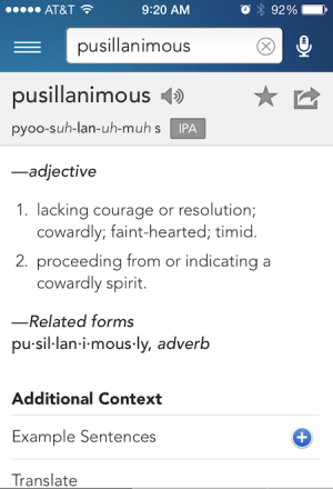 "Pusillanimous - The origin of ""Don't Be A Pussy"""
